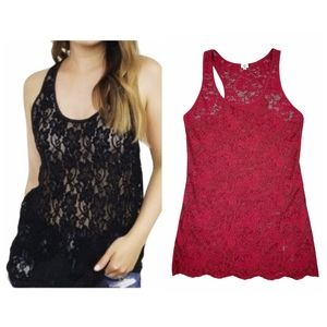 Aritzia Wilfred Free Red Madeline Lace Tank Top
